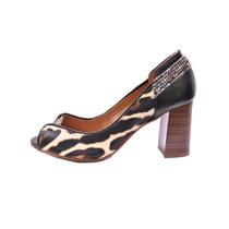 Sapato Feminino Peep Toe Onça Salto Grosso Blumarine