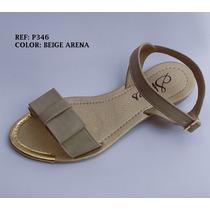 Sandalia Mujer Beige Plana Elegante Zapato Dama Envío Gratis