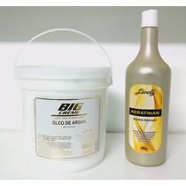 Balde Creme Óleo Argan 3,6 Kg + Queratina 1 Litro Hidratação