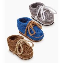 Zapatitos Zapatos Botas De Niño Bebe Tejidas Tejidos Varon