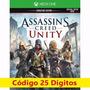Jogo Assassins Creed Unity Xbox One Código 25 Digitos