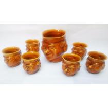 Antiguo Juego De Jarra Con Vasos Ceramica Esmaltada