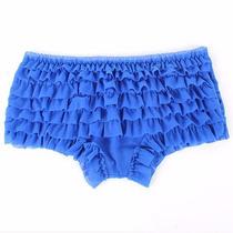 Calcinha Frufru Azul Com Babado Em Tule Shortinho Pin Up