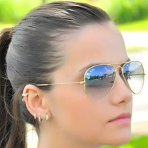 Oculos Rayban Aviador Original Azul Degradê Feminino Novo