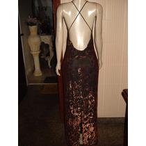 Vestido De Festa Estampa Bronze C/ Marrom Tam M