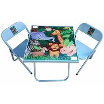 Mesa Infantil Recreio 2 Cadeiras Azul Branco Rosa Brinquedo