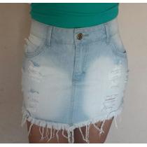 Moda Feminina - Mini Saia Jeans Desfiada Confort Nº 40
