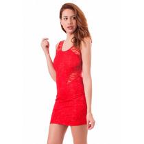 Vestido Encaje Con Transparencias Y Espalda Abierta, M-0031