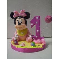 Adorno Para Torta Minnie Bebé En Porcelana Fría