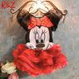Vestido Blusa Saia Minnie Infantil Festa Aniversário Disney