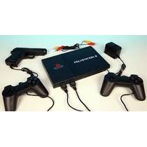 Video Game Polystation 2 + 2 Controles + 1 Pistola + Jogos