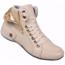 Sapatenis Sneaker Feminina Couro Sapatilha Cano Alto Dobrado
