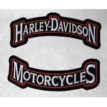Harley Davidson Letras Bordada 2piezas Parches Moto Chamarra
