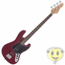 Baixo Giannini Gb1 Vermelha Escudo Preto Jazz Bass Kadu Som
