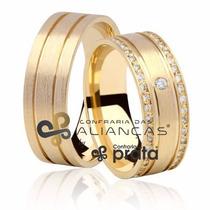 Par De Aliança Ouro 18k - 8mm/20grs - 41 Diamantes - Dc816