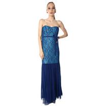 Vestido Noche Largo Encaje Tul Azul Rey Talla 10 Eva Brazzi