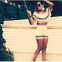 Conjunto Marinheira Cropped Shorts Diva Blogueira Panicat