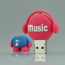 Pen Drive 8gb Personalizado Music Emborrachado Full