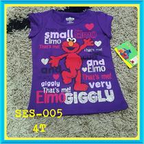 Franelas Disney Plaza Sesamo Elmo Fresita Para Niñas