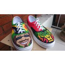 Tenis Vans Personalizados Reggae Música Jamaica Leó Arte Iph