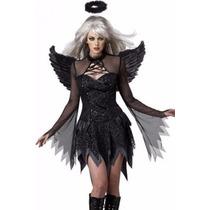 Fantasia Anjo Negro Completa Super Luxo Frete Grátis