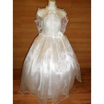 Elegante Moderno Vestido Blanco 1a Comunion Confirmacion