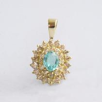 Pingente Ouro 18k Turmalina Paraíba E Diamantes - Cwb Joias
