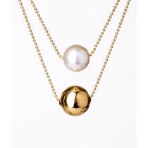 Collar Van Grieken Bola Perla Blanca Dorado. Baño De Oro 18k