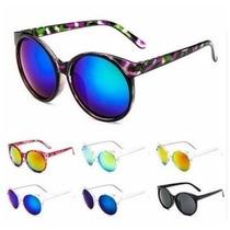 Óculos De Sol Colorido Retrô Redondo Grande Espelhado
