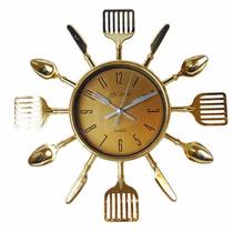 Relógio De Parede Talheres De Cozinha Garfo E Colher