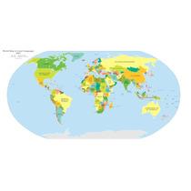 Lienzo Tela Mapa Mundial Con Lenguas 60 X 100 Cm