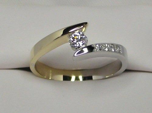anillo de compromiso 2 tonos 14k .26 puntos gvvs1 - $ 8,950.00 en