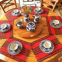 Mesa Jantar Com Prato Giratório 1,60 Diâmetro Madeira Maciça