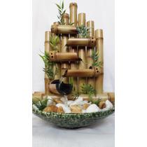 Fonte Água Cascata Cerâmica Pedras Bambu 5 Quedas Completa