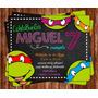 Invitación De Cumpleaños Tortugas Ninjas Tmnt Photoshop