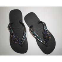 Chinelo Sandália Personalizada - Strass, Fita E Ornamento