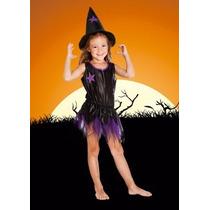 Disfraz Bruja Brujita Violeta Sombrero Halloween Talles