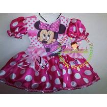 Vestido Fantasia Roupa Aniversário Minnie Rosa Escuro, Pink