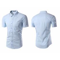 Camisas Entalladas Slim Fit, Manga Corta, Moda Coreana