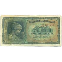 Grecia Billete De 25.000 Dracmas 1943 Segunda Guerra Mundial
