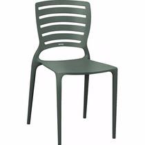 04 Cadeiras Sofia Com Encosto Vazado Grafite Tramontina Fg