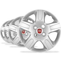 Jogo Calota Aro 14 Strada Working 2014 Emblema Fiat - P20