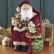 Hermoso Santa Claus Sentado En Su Sillon De 76cm De Alto