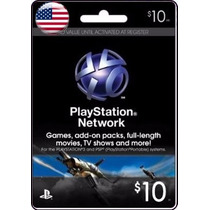 Tarjeta Gift Card Psn Americana $10 Usd Ps4 Ps3 Envio Gratis