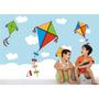 Papel Parede Adesivo Quarto Menino Pipa Nuvens Infantil M36