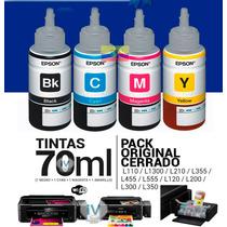 Kit 4 Tinta Original Epson L200, L210, L350, L355, L555 70ml
