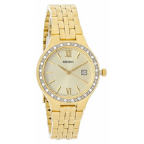 Reloj Seiko Swarovski Crystals Acero Dorado Mujer Sur756