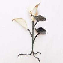 Porta Vela Castiçal De Mesa Flor Copo De Leite Ferro Antigo