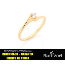 2 Anel Solitário Zirconia F/ Ouro Rommanel 51051 + 511136