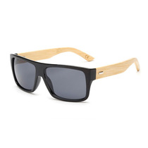 Óculos Escuros Masculino De Madeira Hastes Bamboo Preto